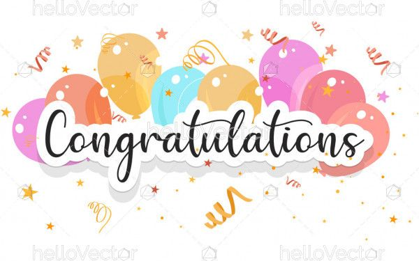 Congratulations banner template with balloons and confetti