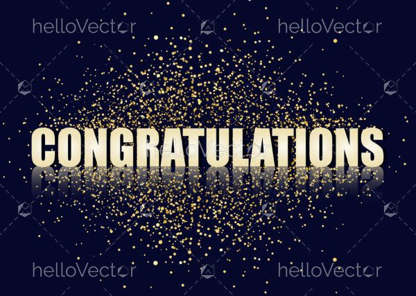 Congratulations banner with gold glitter