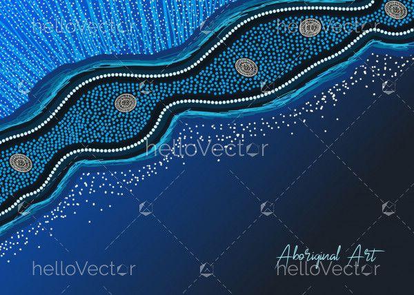 Blue aboriginal art banner design