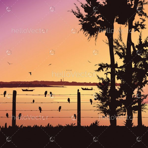 Nature background with river and tree. Birds sitting on railing, Colorful sunset - Vector illustration
