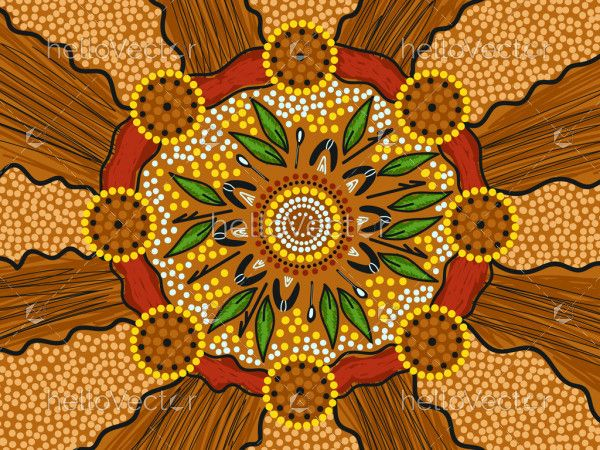 Aboriginal dot artwork vector