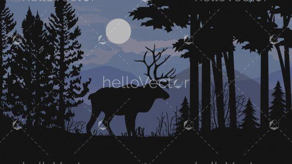 Forest background with wild elk