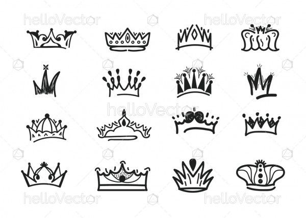 Crown set hand drawn doodle