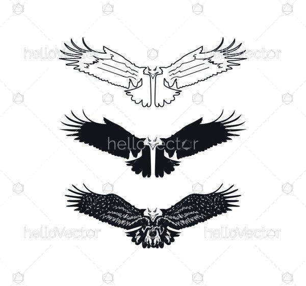 Open wings eagle silhouette