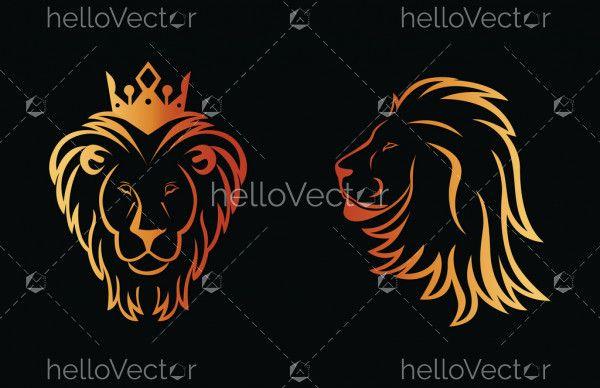 King lion head silhouette