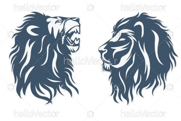 Lion head logo set - vector illustration