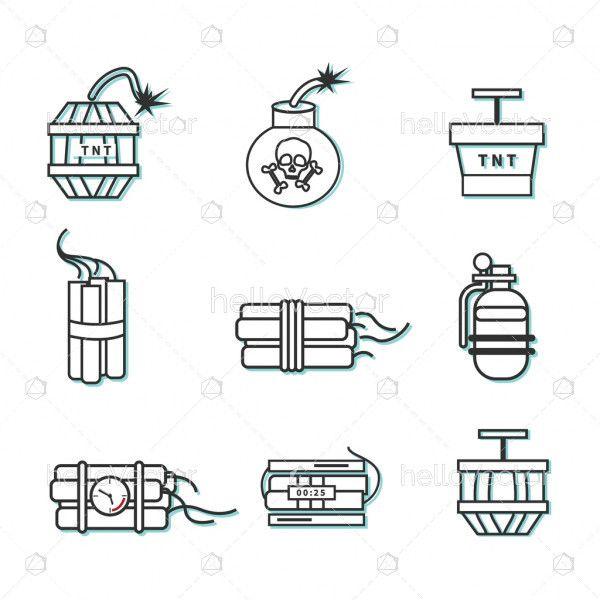 Bomb Icon Set - Vector Illustration