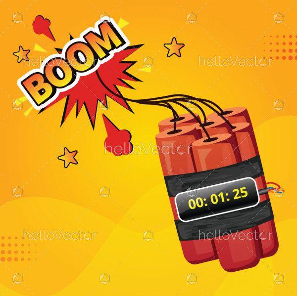 Bomb with clock timer illustration