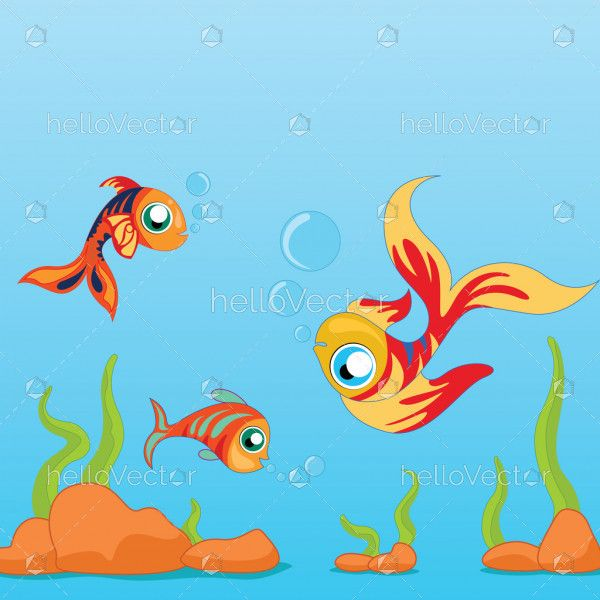 Underwater Background with Fishes - Vector Illustration