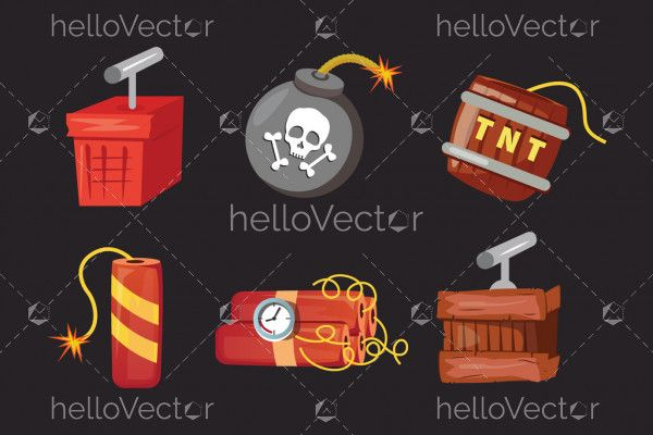 Tnt and dynamite icon set