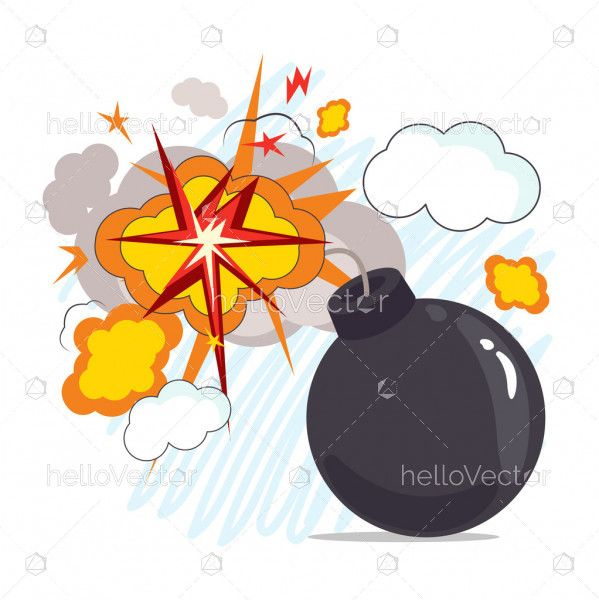 Black sphere bomb with burning fuse