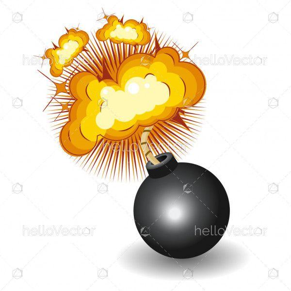 Round black bomb with burning fuse