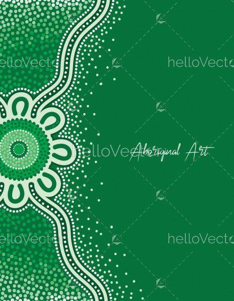 Green aboriginal dot art poster design