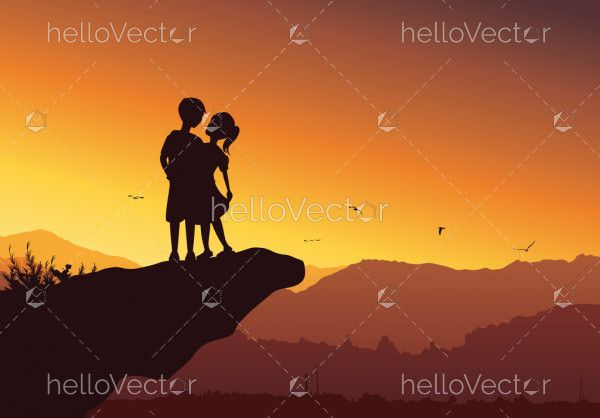 Silhouette of cute couple on top of the mountain - Vector background
