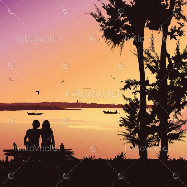 Couple sitting on the bench at sunset, Silhouette vector background