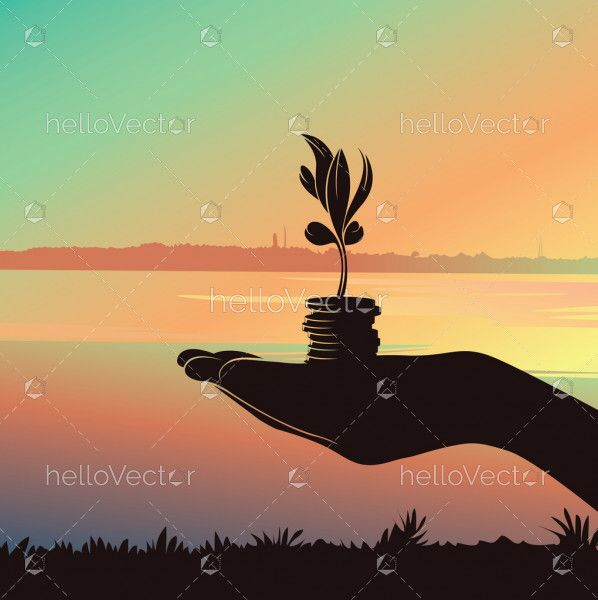Hand Holding Growing Money Tree, Business Finance And Investment Concept, Silhouette Background - Vector illustration