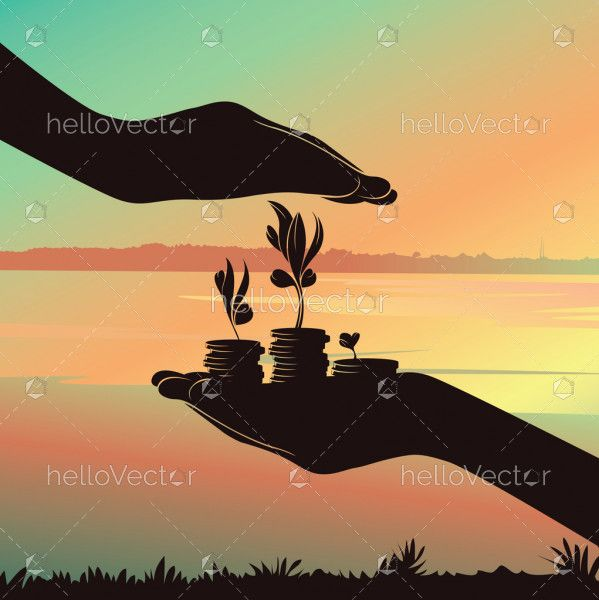 Hands Are Holding A Growing Money Tree, Business Finance And Investment Concept, Silhouette Background - Vector illustration