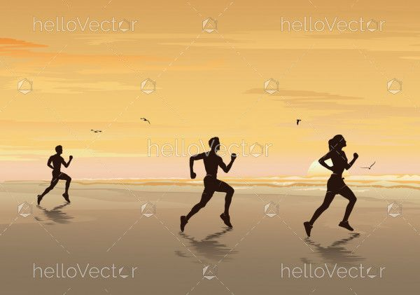 Silhouette of people running on the beach, Jogging & Exercise - Vector illustration