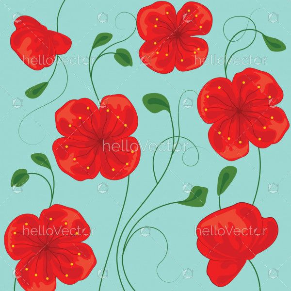 Red poppy flowers, Floral background with poppies - Vector Illustration