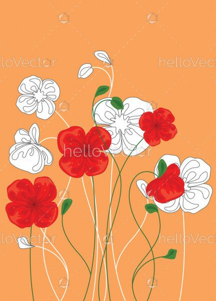 Red and white poppy flowers, Floral background with poppies - Vector Illustration