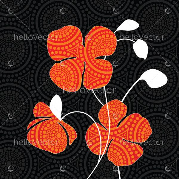 Aboriginal dot art painting with red poppy flowers - Vector Illustration