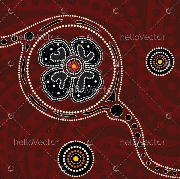 Aboriginal dot art painting with poppy flower - Vector Illustration
