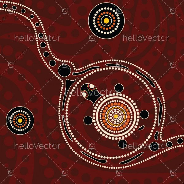 Aboriginal dot art painting with turtle - Vector background