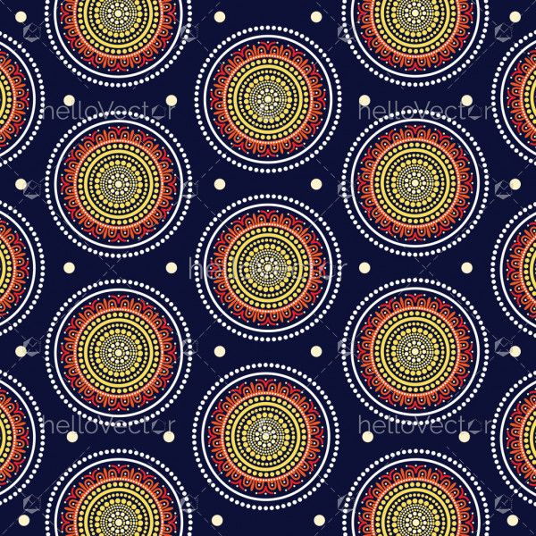 Aboriginal dot art seamless pattern background - Vector Illustration
