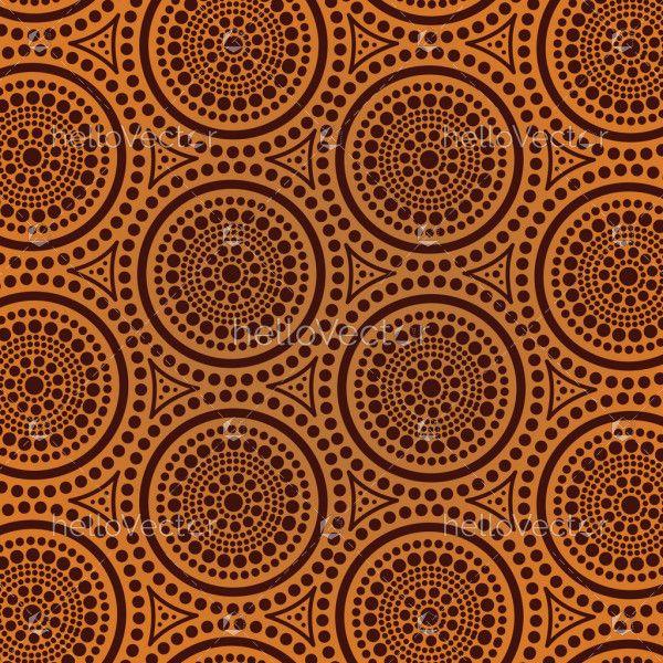 Aboriginal dot art seamless background - Vector illustration
