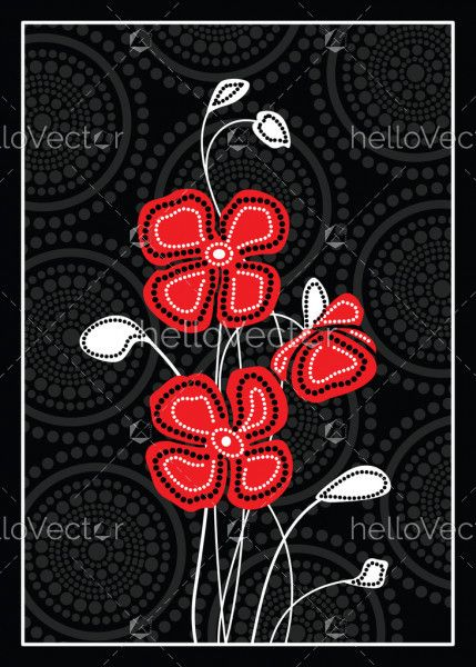 Red poppy flowers with Aboriginal art background - Vector Illustration