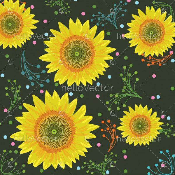 Sunflower background, seamless pattern - Vector illustration