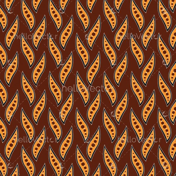 Aboriginal dot art background with leaves - Vector Illustration
