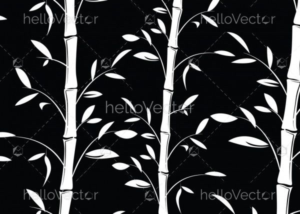 Seamless bamboo pattern background. Black and white decorative bamboo branches wallpaper - Vector
