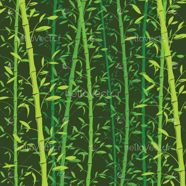 Seamless bamboo pattern background. Green bamboo wallpaper - Vector Illustration