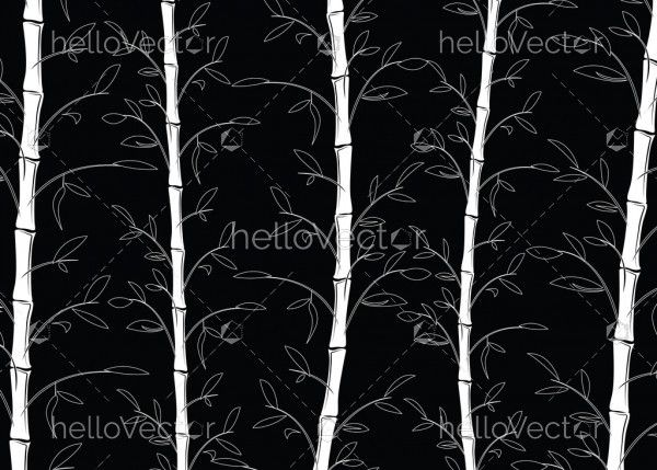 Seamless bamboo pattern background vector. Line art black and white decorative bamboo branches wallpaper