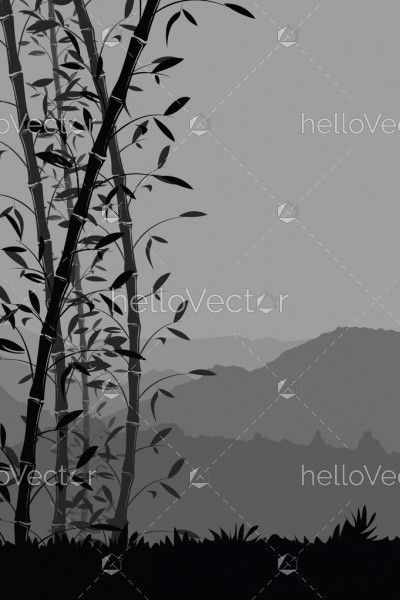Nature background with bamboo portrait view. Black and white scenery mobile wallpaper - vector illustration