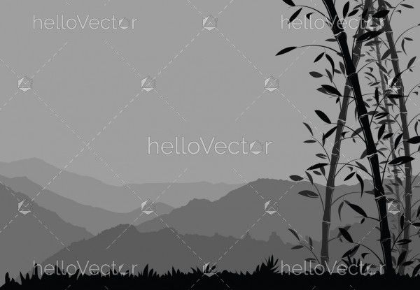 Nature background with bamboo. Black and white scenery wallpaper - vector illustration