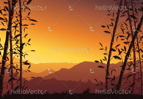 Nature background with bamboo. Colorful sunset wallpaper - vector illustration
