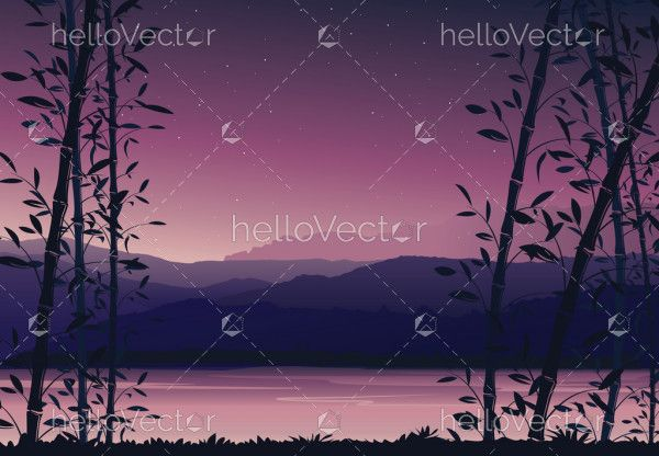 Nature background with bamboo, Colorful sunset, scenery landscape wallpaper - vector illustration