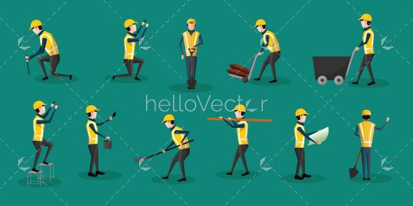 Construction worker characters set - Vector illustration