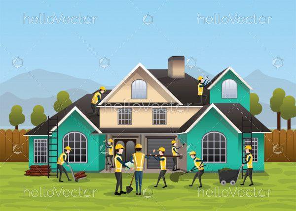 Building, house construction design & concept. Residential house construction process - Vector Illustration