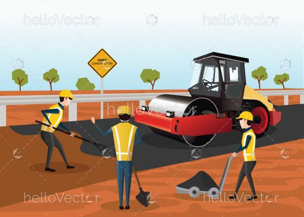 Road Construction Vector - The process of building a new road. Road rollers working on the new road.