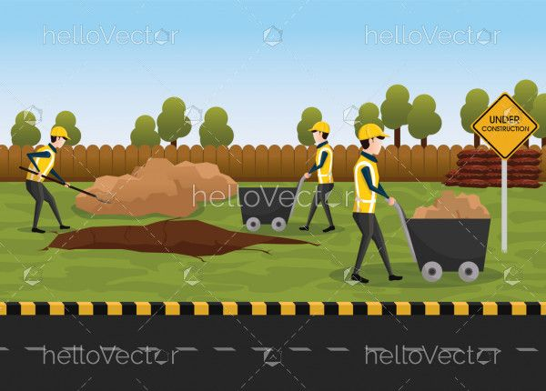 Road Construction Vector - The process of building a new road. Group of workers are repairing the road.