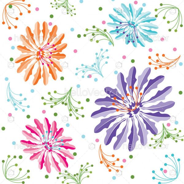 Colorful Flower Background, Seamless Floral Pattern In Vector