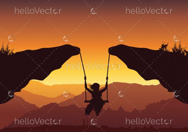 Freedom and independence concept background, Vector silhouette of a young teenager girl swinging over the mountain.