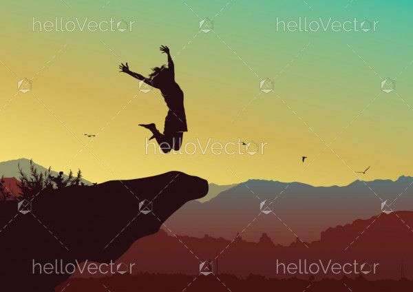 Freedom and independence concept background, Silhouette of a happy woman jumping on top of the mountain