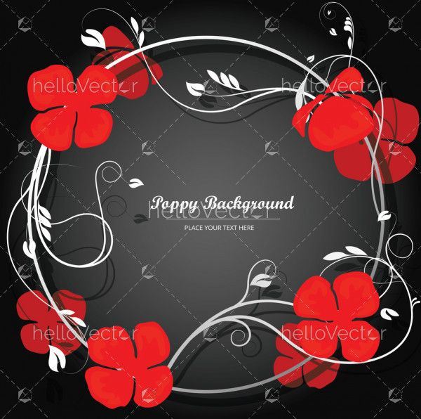 Red Poppy Flowers, Floral Banner Background With Poppies and text - Vector Illustration