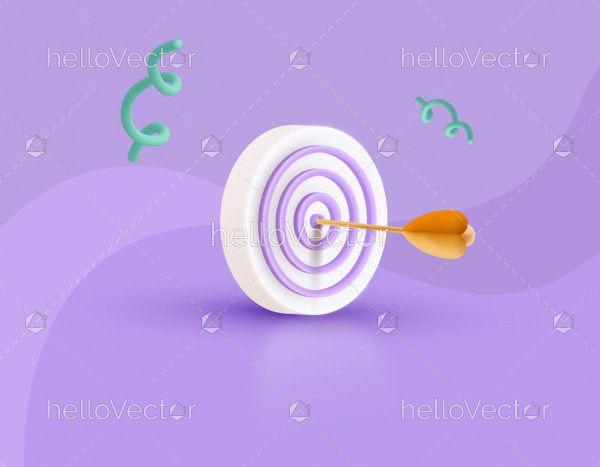 Target achievement concept 3D illustration