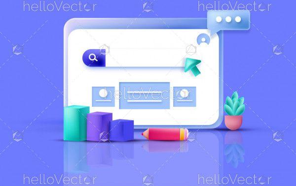 3D Web Development UX-UI Design Concept