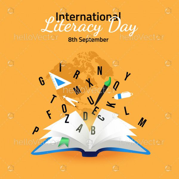 International Literacy Day Illustration With Open Book